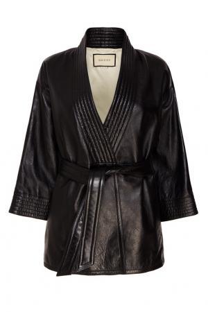 Кожаная куртка с поясом Gucci. Цвет: черный