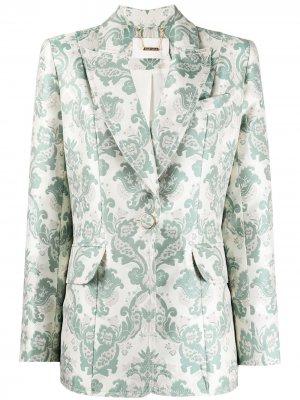 Парчовый пиджак Ladybeetle Zimmermann. Цвет: зеленый