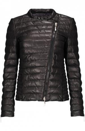 Куртка кожаная Moncler. Цвет: черный