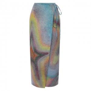 Льняная юбка Acne Studios. Цвет: разноцветный