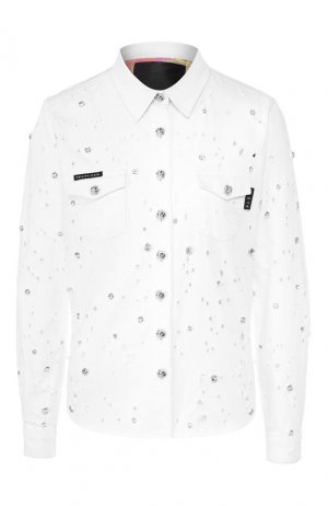 Хлопковая рубашка Philipp Plein. Цвет: белый