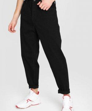 Широкие чёрные джинсы O`Stin. Цвет: черный
