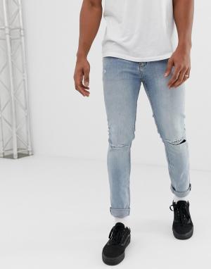 Облегающие джинсы с рваными коленками -Синий Cheap Monday