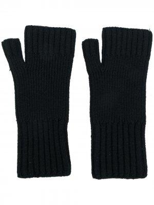 Перчатки в рубчик без пальцев AMI Paris. Цвет: черный