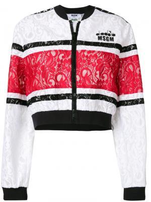Кружевная куртка-бомбер MSGM. Цвет: белый