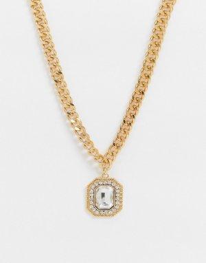 Золотистое ожерелье с кристаллами на подвеске -Золотой ASOS DESIGN