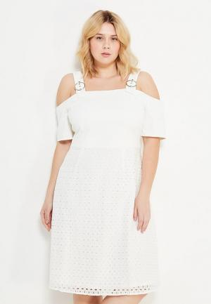 Платье LOST INK PLUS PINAFORE FIT & FLARE DRESS WITH BRODERIE SKIRT. Цвет: белый