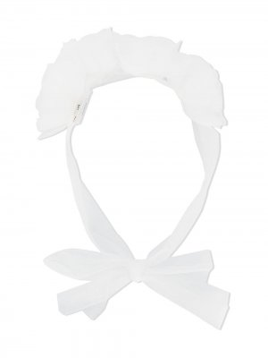 Повязка на голову с цветочной аппликацией из тюля Aletta. Цвет: белый