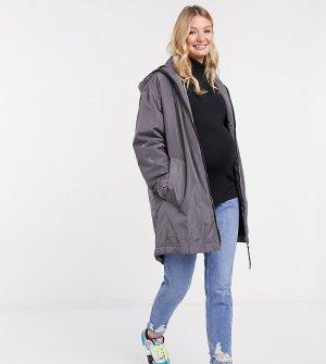 Серая куртка-дождевик с подкладкой из искусственного меха ASOS DESIGN Maternity-Серый Maternity