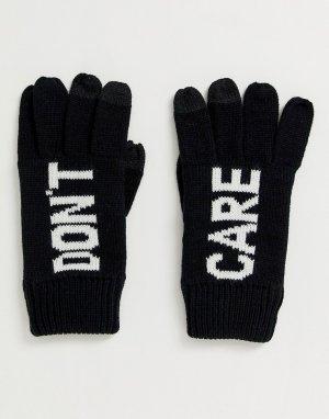Черно-белые перчатки для сенсорных гаджетов -Черный ASOS DESIGN