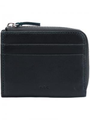 Бумажник с застежкой-молнией A.P.C.. Цвет: зелёный