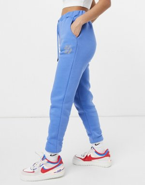 Синие джоггеры в стиле oversized с логотипом из стразов -Голубой Criminal Damage