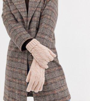 Эксклюзивные розовые перчатки с вязкой косами -Розовый Stitch & Pieces