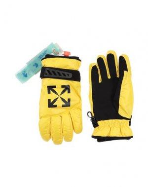 Перчатки OFF-WHITE™. Цвет: желтый