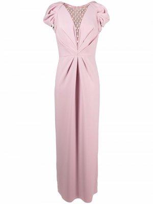 Декорированное платье с драпировкой Jenny Packham. Цвет: розовый