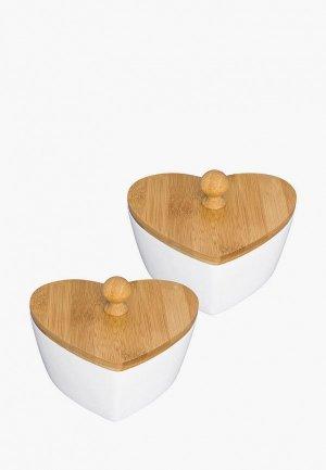 Набор контейнеров для хранения продуктов Elan Gallery 640 мл, 15,7х14,5х11 см, 2 шт.. Цвет: белый