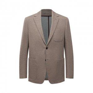 Пиджак из шерсти и хлопка Canali. Цвет: бежевый