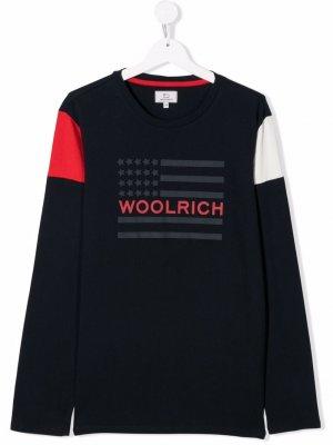 TEEN logo flag-print long-sleeve top Woolrich Kids. Цвет: синий