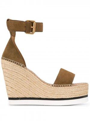 Glyn espadrille wedge sandals See by Chloé. Цвет: коричневый