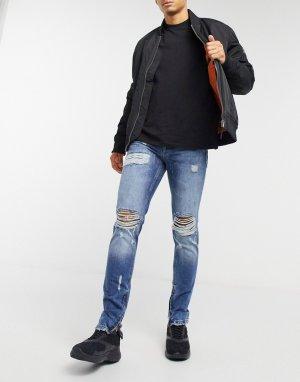 Темно-голубые облегающие джинсы -Голубой Criminal Damage