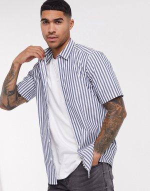 Рубашка в полоску с короткими рукавами -Синий Only & Sons