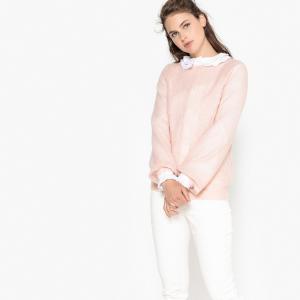 Пуловер ажурный с круглым вырезом LA REDOUTE COLLECTIONS. Цвет: каштановый,розовый телесный,фуксия