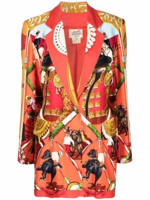 Однобортный блейзер 1990-х годов с принтом Hermès. Цвет: красный