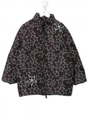 Пуховик с принтом Dolce & Gabbana Kids. Цвет: черный