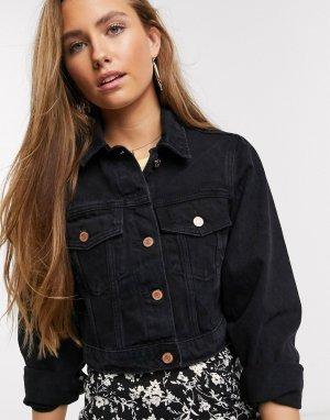 Черная короткая джинсовая куртка -Черный New Look