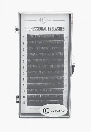 Набор CC Brow накладных ресниц Lashes D/0.15/14. Цвет: черный