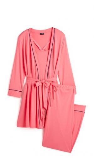 Пижама для беременных Bella с халатом, майкой и брюками Cosabella. Цвет: джаз розовый/морской синий