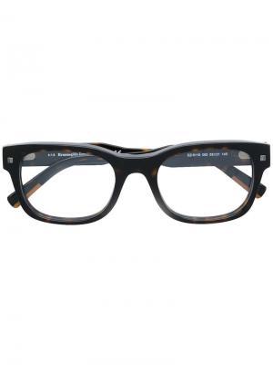Очки в квадратной оправе с эффектом черепашьего панциря Ermenegildo Zegna. Цвет: коричневый