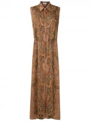Платье-рубашка с принтом пейсли Amir Slama. Цвет: коричневый