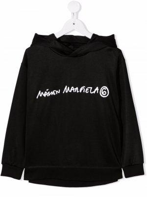 Logo-print fleece hoodie MM6 KIDS. Цвет: черный