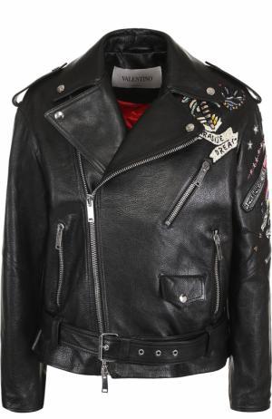 Кожаная куртка с косой молнией и декоративной отделкой Valentino. Цвет: черный