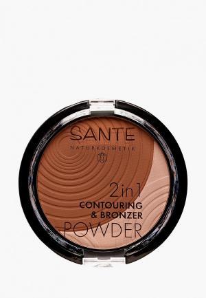 Бронзатор Sante 2в1  № 02 Темный. Цвет: коричневый