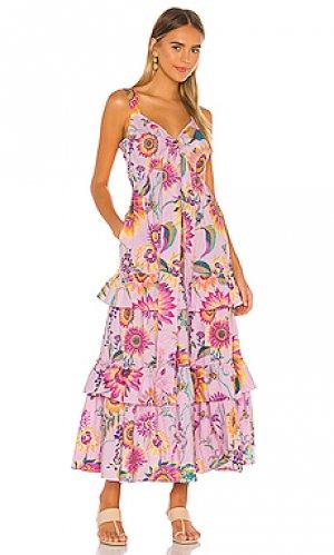 Макси платье serafina Banjanan. Цвет: розовый