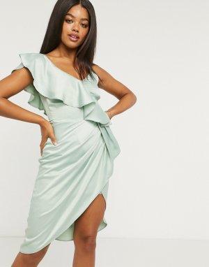 Зеленое атласное платье-футляр миди на одно плечо с оборками -Зеленый Lipsy