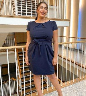 Темно-синее платье-карандаш мини с рукавами-крылышками -Темно-синий Closet London Plus