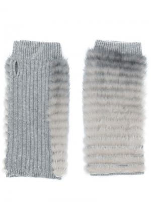 Перчатки без пальцев Agnona. Цвет: серый