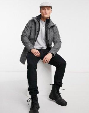 Шерстяное пальто с воротником-трубой и узором «в елочку» Premium-Серый Jack & Jones