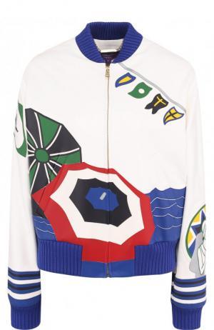 Кожаная куртка с принтом и контрастной отделкой Ralph Lauren. Цвет: разноцветный