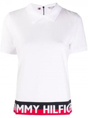 Рубашка поло в стиле колор-блок с логотипом Tommy Hilfiger. Цвет: белый
