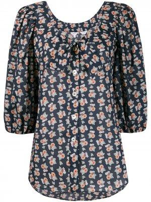 Блузка с рукавами три четверти и принтом Liberty London. Цвет: черный