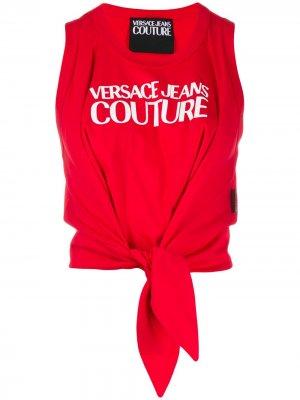 Топ с завязками и логотипом Versace Jeans Couture. Цвет: красный