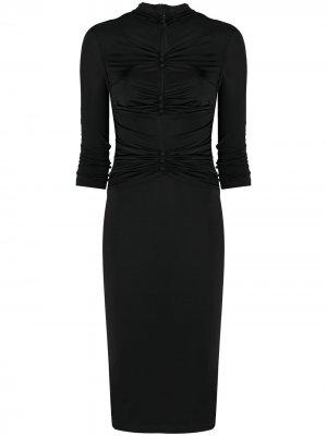 Платье из джерси со сборками Versace Jeans Couture. Цвет: черный