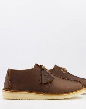Коричневые кожаные ботинки Desert Trek-Коричневый цвет Clarks Originals