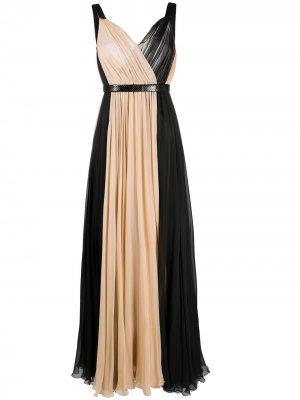Длинное двухцветное платье Dolce & Gabbana. Цвет: нейтральные цвета