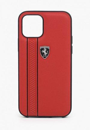 Чехол для iPhone Ferrari 12/12 Pro (6.1), Off-Track Genuine leather Stitched stipe Red. Цвет: красный