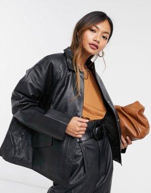 Черная кожаная куртка с утепленной подкладкой Femme-Черный Selected